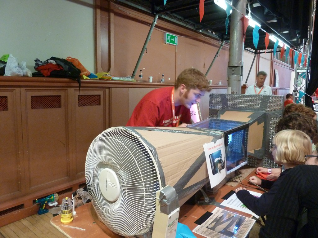 The ducting between the working section and the fan is the diffuser. The design is based on one by NASA. Yes NASA baby!