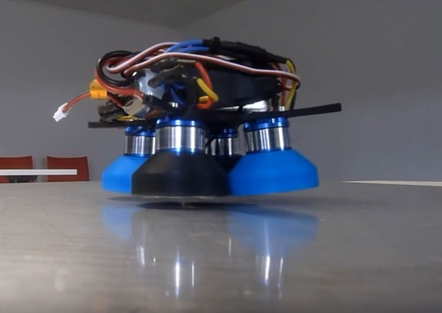 Hoverbot levitating over an aluminium plate